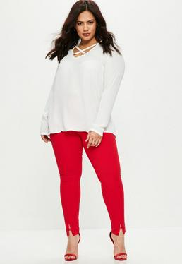 Curve Red Cigarette Trousers