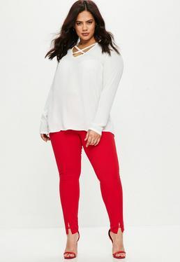 Czerwone spodnie cygaretki Plus Size
