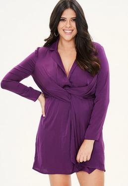 Curve Purple Satin Plunge Wrap Dress