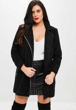 Plus Size Czarny wełniany płaszcz