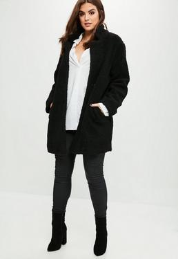 Abrigo talla grande de lana sintética en negro
