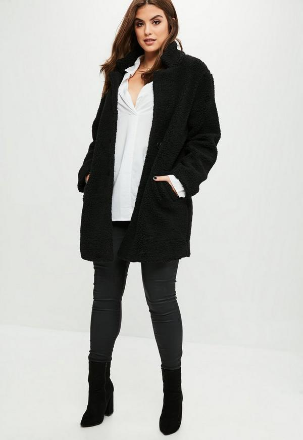Curve Black Teddy Shearling Wool Coat | Missguided