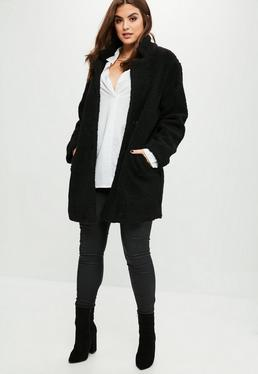 Curve Black Teddy Shearling Wool Coat
