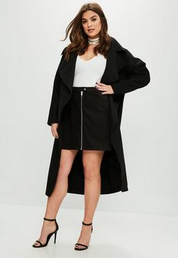 Curve Black Tailored Waterfall Coat