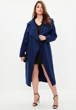 Abrigo largo talla grande en azul marino
