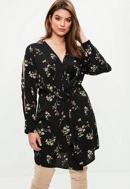 Curve Black Floral Cold Shoulder Twist Dress
