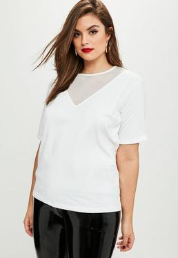 Curve White Mesh T Shirt