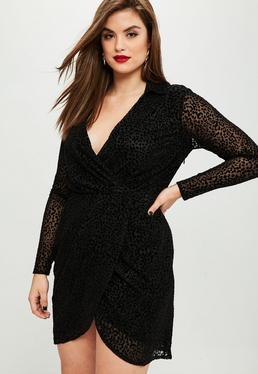 Plus Size Czarna sukienka w panterkę