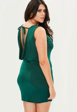 Plus Size Zielona sukienka z wiązaniem