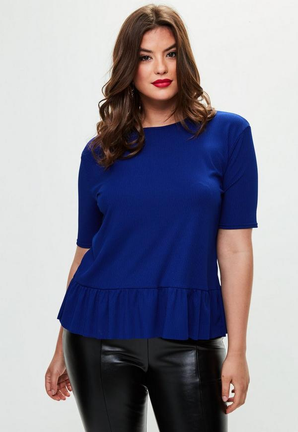 Curve Blue Ribbed Peplum T Shirt by Missguided