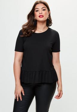 Curve Black Ribbed Peplum T-shirt