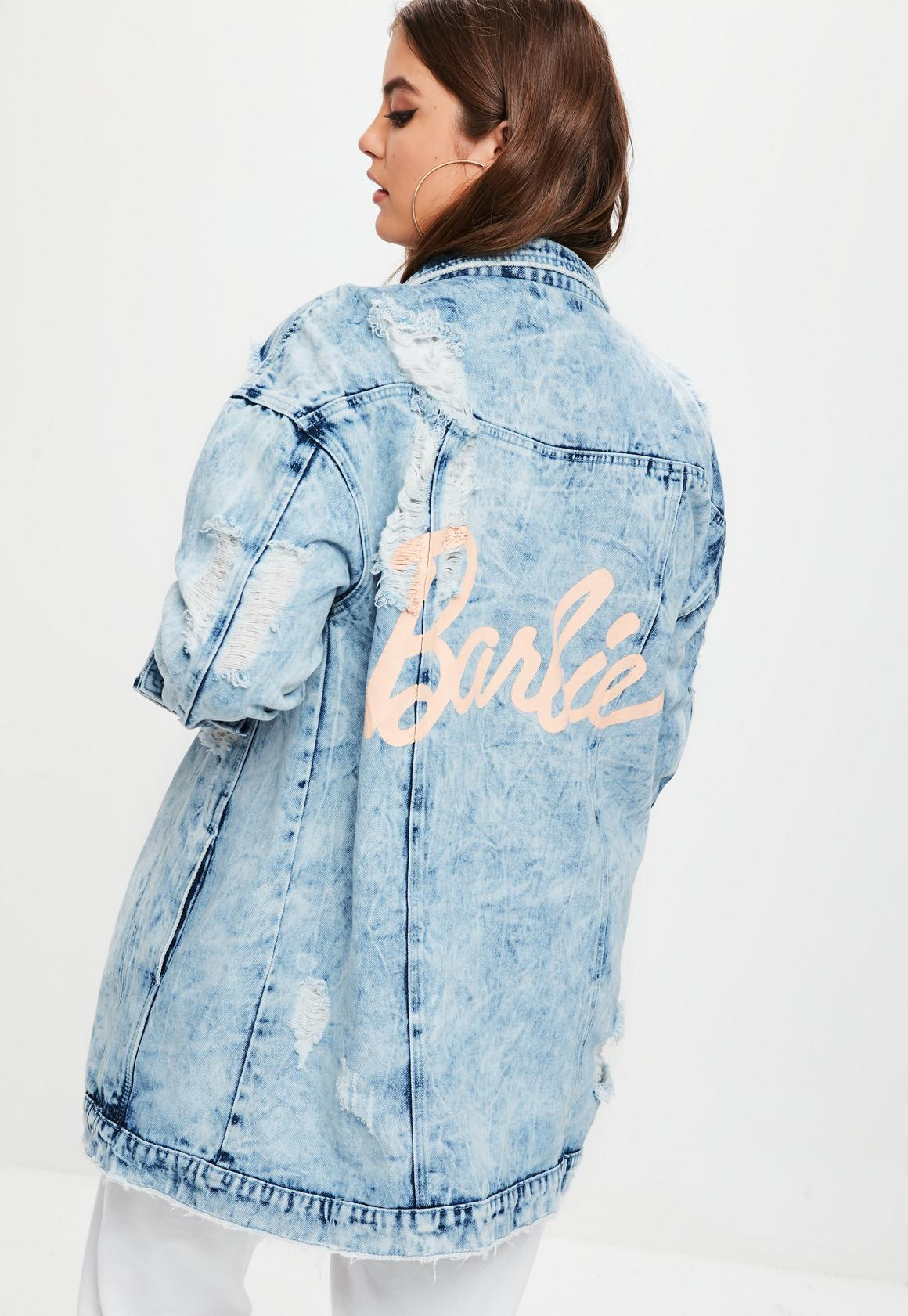 Plus Size Barbie x Missguided Blue Barbie Denim Jacket   Missguided