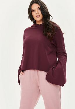 Plus Size Burgundowa bluza z kapturem
