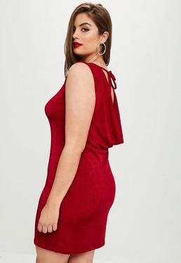 Curve Red Slinky Cowl Dress