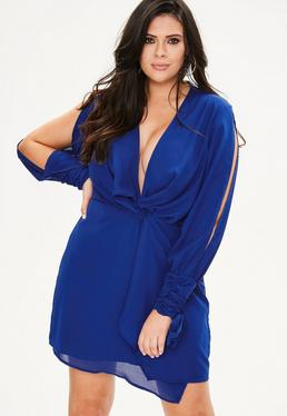Curve Blue Twist Front Tie Cuff Dress