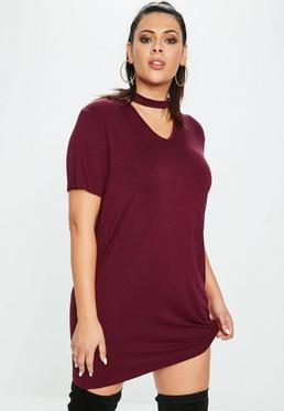 Curve Burgundy Choker Neck Tshirt Dress