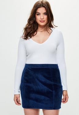 Falda talla grande de pelo corto sintético en azul marino