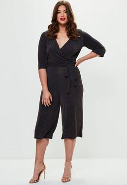 Curve Black Lurex Jersey Jumpsuit
