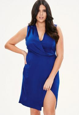 Curve Blue Wrap Drape Front Dress
