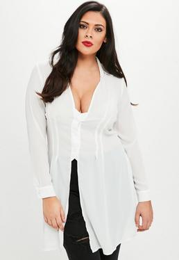 Plus Size Biała luźna koszula