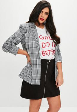 Curve Black Plaid Longline Blazer