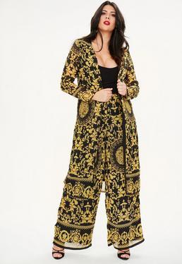 Curve Black Scarf Print Long Line Kimono Jacket