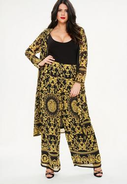 Curve Yellow Scarf Print Pants