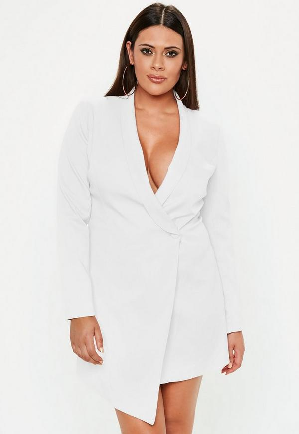Plus Size White Blazer Dress Missguided