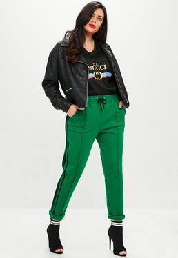 Plus Size Zielone spodnie joggersy