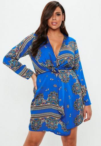 Plus Size Blue Paisley Print Wrap Dress Missguided