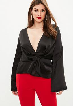 Curve Black Drape Blouse