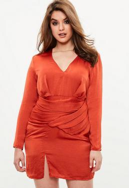 Curve Orange Slinky Long Sleeve Panelled Dress