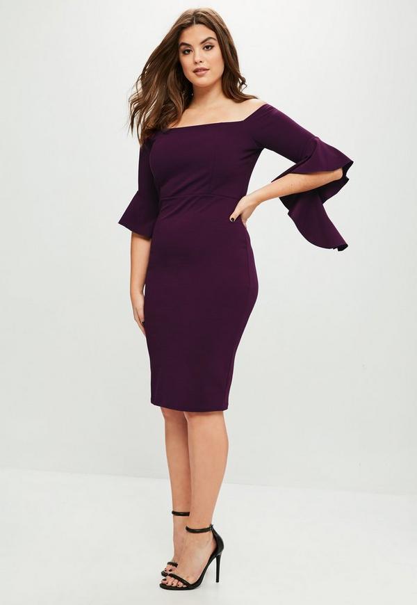 Curve Purple Scuba Bardot Dress Missguided