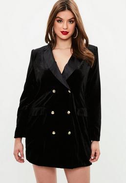 Curve Black Velvet Tuxedo Dress