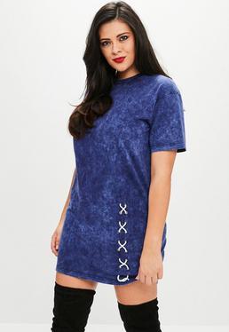 Plus Size Niebieska sukienka T-Shirt