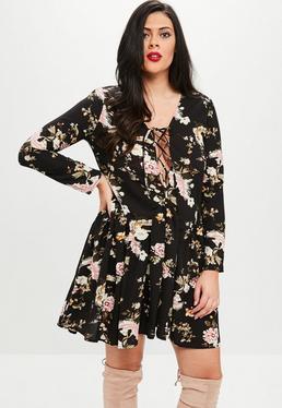 Curve Black Floral Dropped Waist Dress