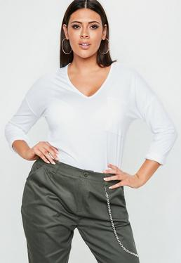 Curve White Basic V Neck Top