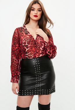 Curve Red Leopard Print Bodysuit