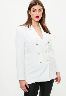 Cream Curve Military Tux Blazer