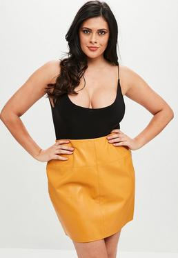 Curve Yellow Faux Leather Skirt