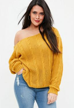 Curve Yellow Off Shoulder Cable Sweater