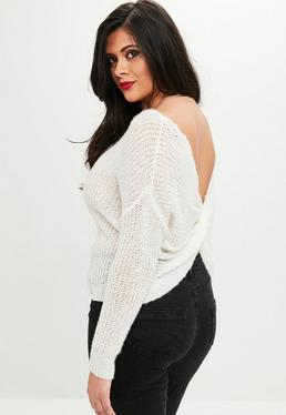 Curve White Fluffy Yarn Twist Back Sweater