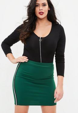 Curve Green Stripe Side Mini Skirt