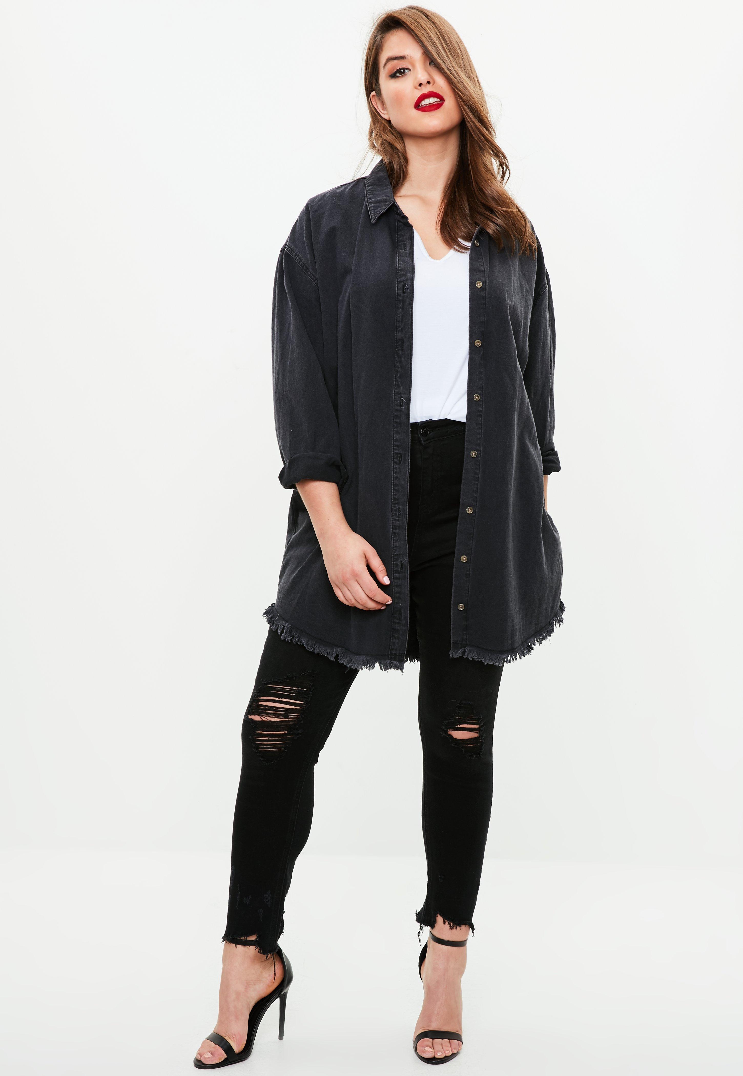 Veste longue jean grande taille femme
