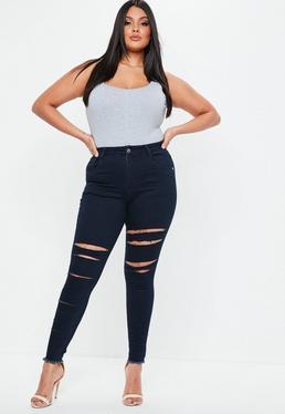 Plus Size Niebieskie jeansy z dziurami