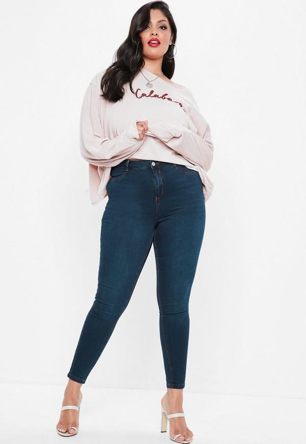 Curve Blue Lawless High Waist Superstretch Jeans by Missguided