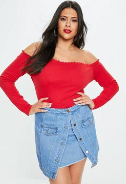 Curve Blue Denim Double Layer Mini Skirt