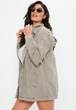 Curve Beige Ripped Denim Jacket