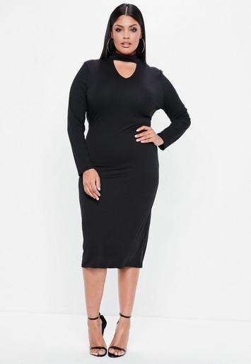 Plus Size Black Choker Neck Longline Bodycon Dress Missguided