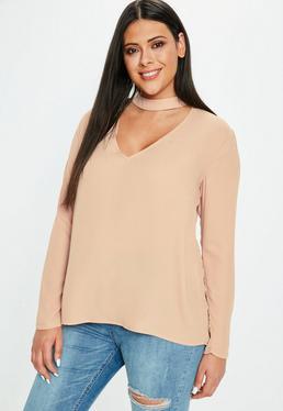 Plus Size Różowa bluzka z chokerem